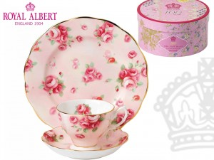 Filiżanka ze spodkiem + deserówka - 100 Years of Royal Albert - Rose Blush 1980