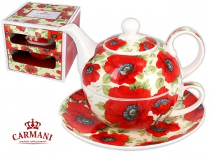 Imbryk z filiżanką i spodkiem porcelana Tea for One Maki- Carmani